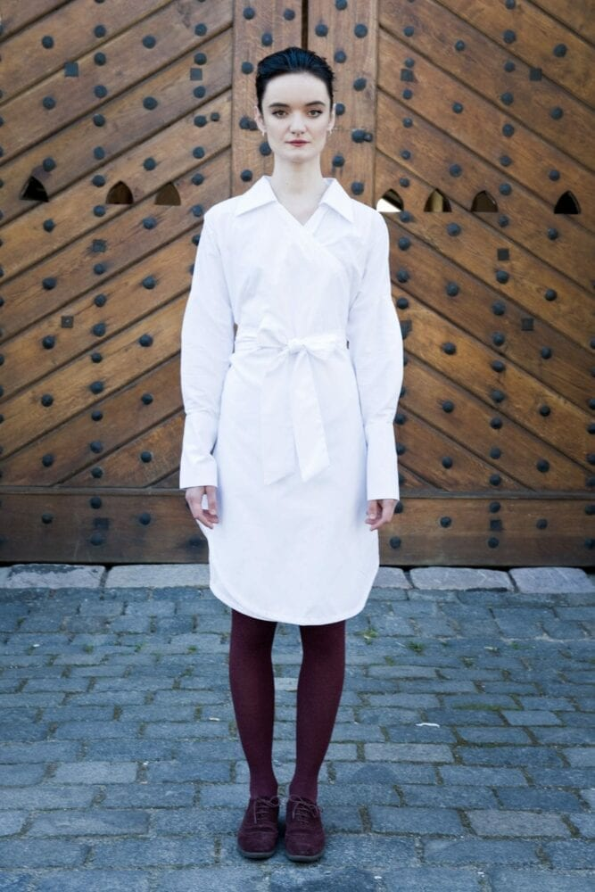 White wraped shirty dress