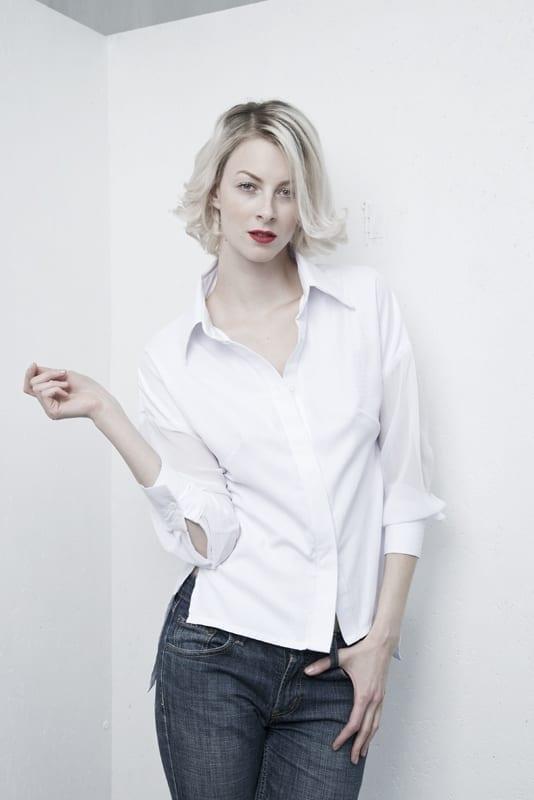 Košile volná s průsvitným rukávem bílá