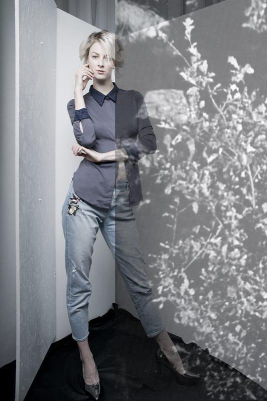 Košile vypasovaná modro-fialovo-šedá