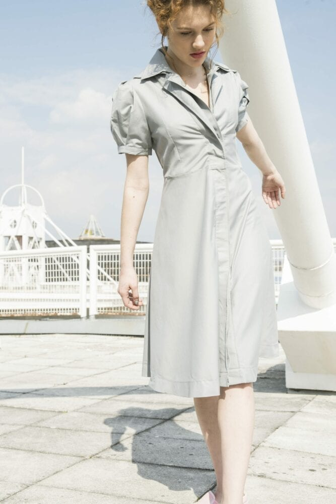 Shirty dress with two collars