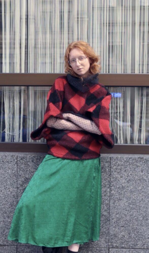 Hedvábná sukně zelená